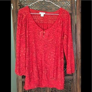 Lucky Burnout Red Long Sleeve V neck Large, Blousy